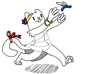 Adorable Anthro White Cat Chases Dragonfly Drawception