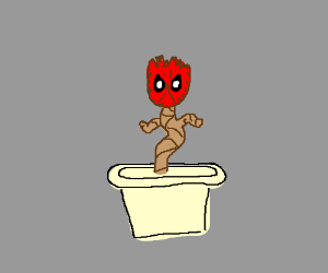 fusion of baby Groot and Deadpool