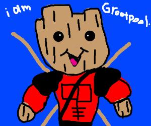 Baby Groot cosplays as Deadpool.