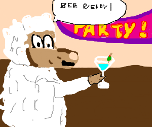 Sheep has drink at a party
