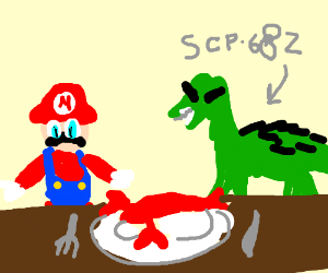 SCP-682 eating lobster with Mario.
