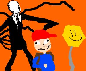 slenderman trying to kidnap kid on bus stop