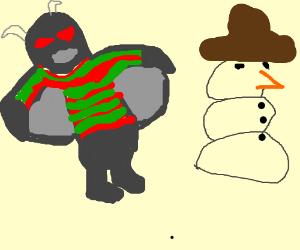 Gargoyle in Freddy Kruger sweater w/snowman