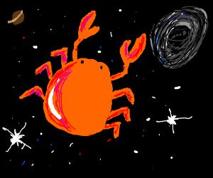 a crab flying towards a black hole