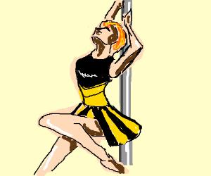 Cheerleader dancing at the pole