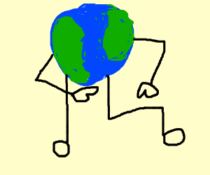 planet Earth pointing at his leg