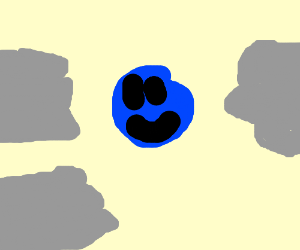 A yellow thing w/ 3 grey hands tickling blue