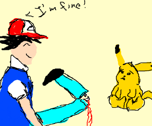 Ash is injured Pikachu is scared