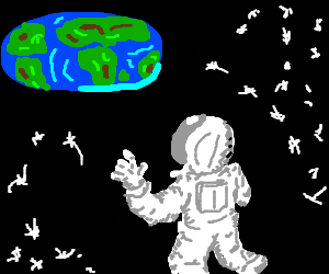 Space man looking at an oval earth