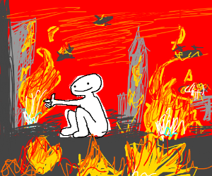 person watching the world burn
