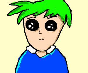 Green-haired anime person with blue shirt
