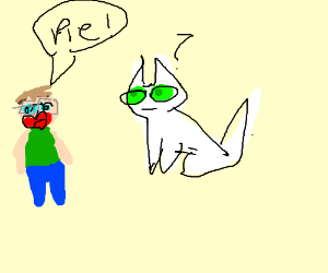 man wearing glasses says pie! to a white cat