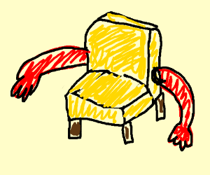 red chair with yellow arms