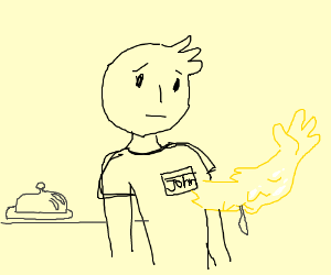 John has a third arm made out of butter
