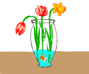 A fish in a vase of flowers