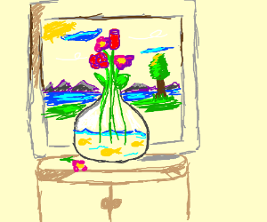 Fish Swimming in a vase full of flowers