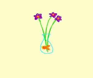 goldfish in a flower vase