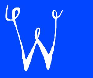 A cool cursive written W