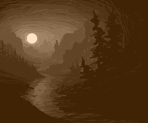 moon illuminates a river valley wilderness