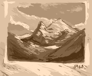 Vintage picture of a snowy mountain