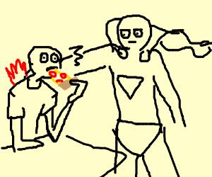 Hero Kills Guy Eating a Pizza