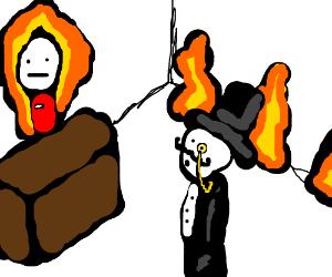 Rich guy in a fire store