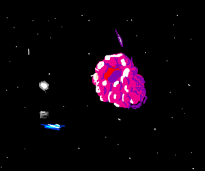 Raspberry floating through space