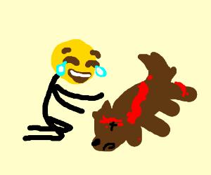Emoji stickman crying to his dead dog