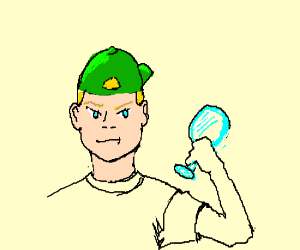 guy with backwards cap holding a glass 'item'