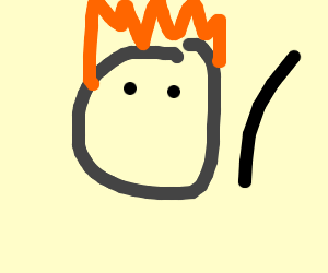 man with his hair on fire