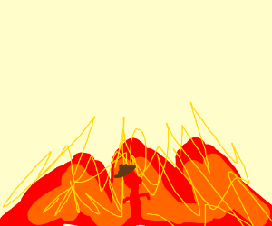 Mysterious Red Man Behind The Flames