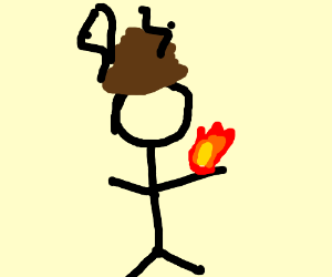 guy on fire with crap on his head