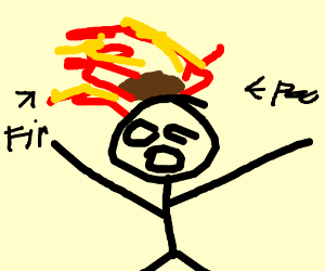 dude on fire with poop on his head