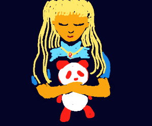 Portrait of a princess holding a red panda
