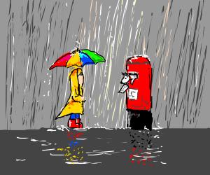 Boy w/ Rainbow Umbrella by British Mailbox