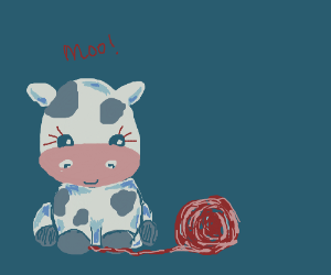 A cow and it's person play with some yarn. Barnyarn