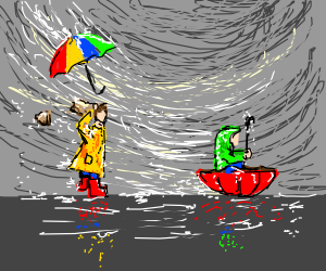playing with umbrellas in the storm