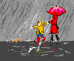 mother walking child in the rain