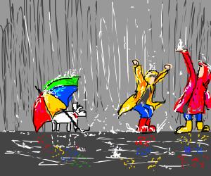 Boy, Girl and Dog w/ Umbrella in the Rain