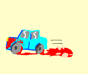 A bloody car ran someone over