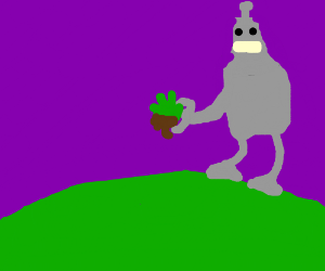 Bender from Futurama has pulled up a clump of grass