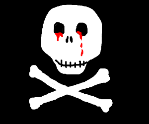 pirate flag skull bleading out its eye holes