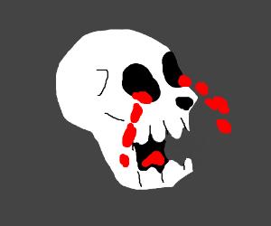 blood crying skeleton