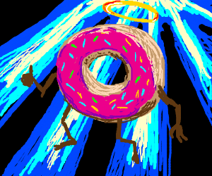 A donut descends from the heavens.