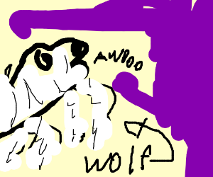 A skeleton wolf howling at purple night