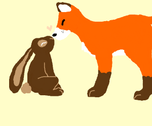 Cute rabbit kissing a fox