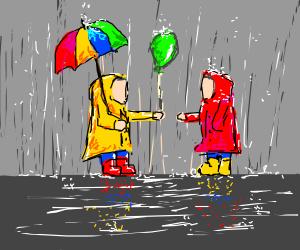 Sharing a balloon in the rain.
