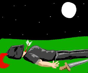 A dead knight under the moon light.
