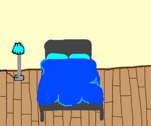 A bed.