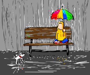 Puppy joins girl in yellow poncho under umbrella